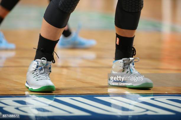 The sneakers of Maya Moore of the Minnesota Lynx are seen during the game Phoenix Mercury on August 22 2017 at Xcel Energy Center in St Paul...