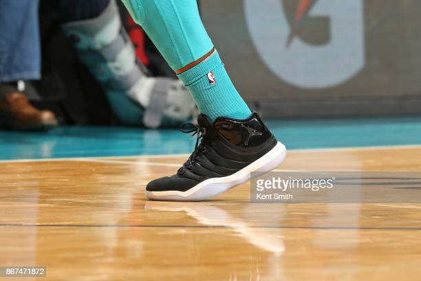 The sneakers of Michael KiddGilchrist of the Charlotte Hornets during the game against the Houston Rockets on October 27 2017 at Spectrum Center in...
