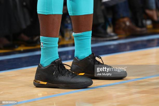 The sneakers of Michael KiddGilchrist of the Charlotte Hornets during the game against the Memphis Grizzlies on October 30 2017 at FedExForum in...