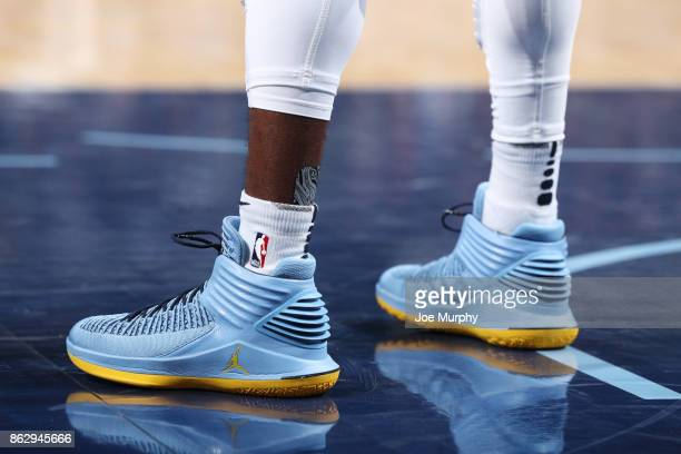 The sneakers of Mike Conley of the Memphis Grizzlies are seen during the 201718 regular season game against the New Orleans Pelicans on October 18...