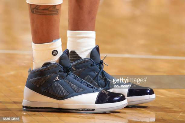 The sneakers of Monta Ellis of the Indiana Pacers are seen during a game against the Charlotte Hornets on March 15 2017 at Bankers Life Fieldhouse in...
