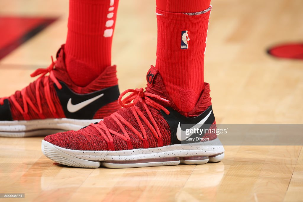 The sneakers of Nikola Mirotic #44 of the Chicago Bulls during the game against the Boston Celtics on December 11, 2017 at the United Center in Chicago, Illinois.