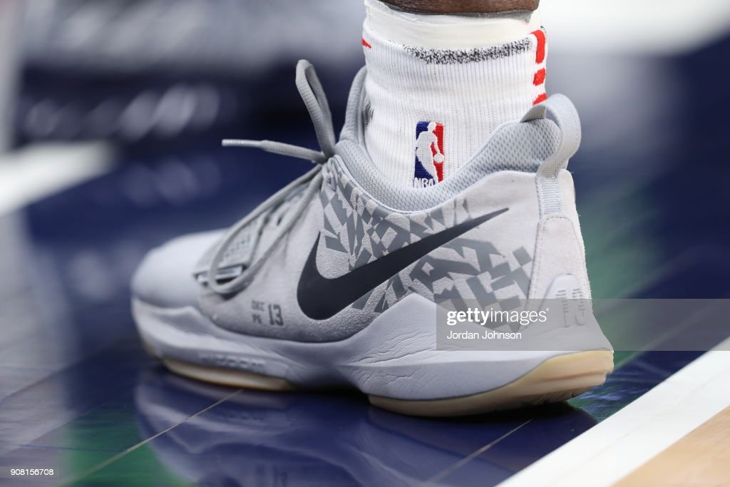 The sneakers of OG Anunoby #3 of the Toronto Raptors are seen during the game against the Minnesota Timberwolves on January 20, 2018 at Target Center in Minneapolis, Minnesota.
