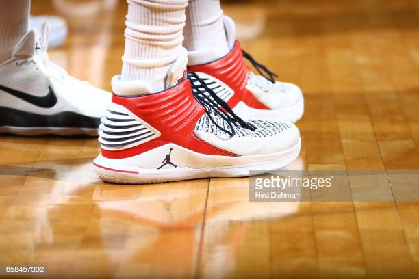 The sneakers of Otto Porter Jr #22 of the Washington Wizards are seen during the preseason game against the New York Knicks on October 6 2017 at...