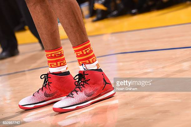 The sneakers of Patrick McCaw of the Golden State Warriors are seen during the game against the LA Clippers on January 28 2017 at ORACLE Arena in...
