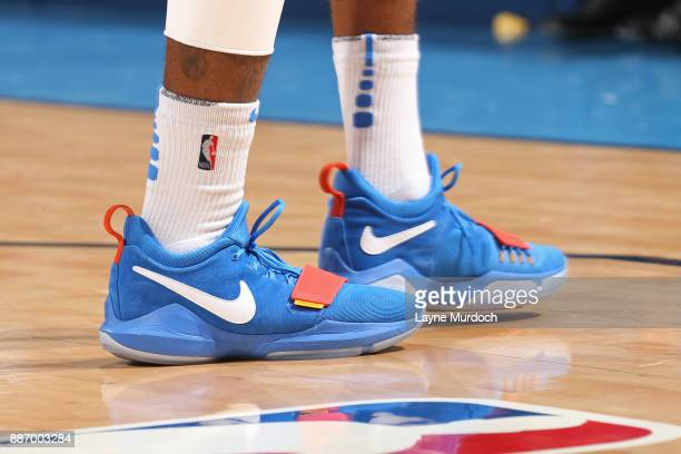 The sneakers of Paul George of the Oklahoma City Thunder during the game against the Utah Jazz on December 5 2017 at Chesapeake Energy Arena in...