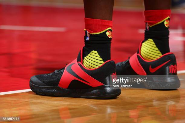 The sneakers of Paul Millsap of the Atlanta Hawks during the game against the Washington Wizards in Game Five of the Eastern Conference Quarterfinals...