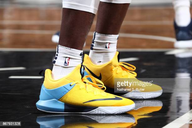 The sneakers of Paul Millsap of the Denver Nuggets are seen during the game against the Brooklyn Nets on October 29 2017 at Barclays Center in...