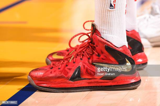 The sneakers of PJ Tucker of the Houston Rockets are seen during the game against the Golden State Warriors on October 17 2017 at ORACLE Arena in...