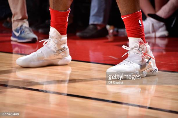 The sneakers of PJ Tucker of the Houston Rockets are seen during the game against the Denver Nuggets on November 22 2017 at the Toyota Center in...