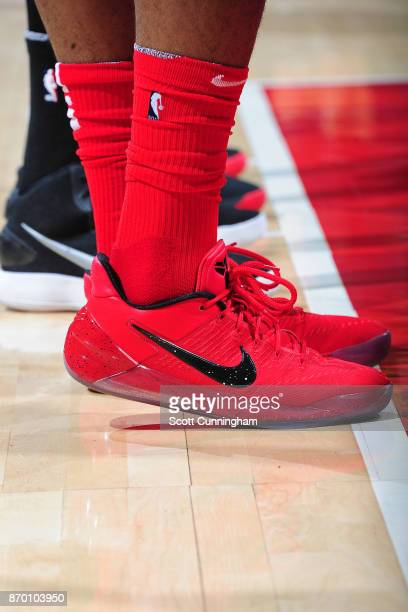 The sneakers of PJ Tucker of the Houston Rockets during the game against the Atlanta Hawks on November 3 2017 at Philips Arena in Atlanta Georgia...