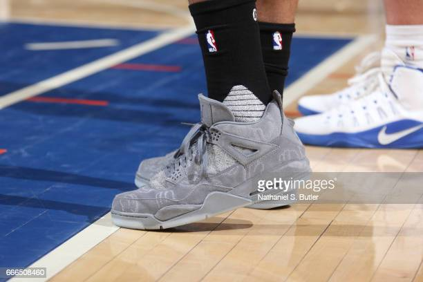 The sneakers of PJ Tucker of the Toronto Raptors are seen during a game against the New York Knicks on April 9 2017 at Madison Square Garden in New...