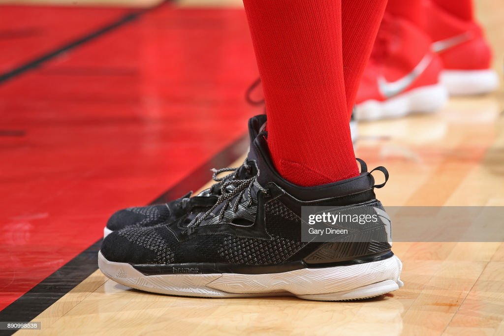 The sneakers of Robin Lopez #42 of the Chicago Bulls during the game against the Boston Celtics on December 11, 2017 at the United Center in Chicago, Illinois.