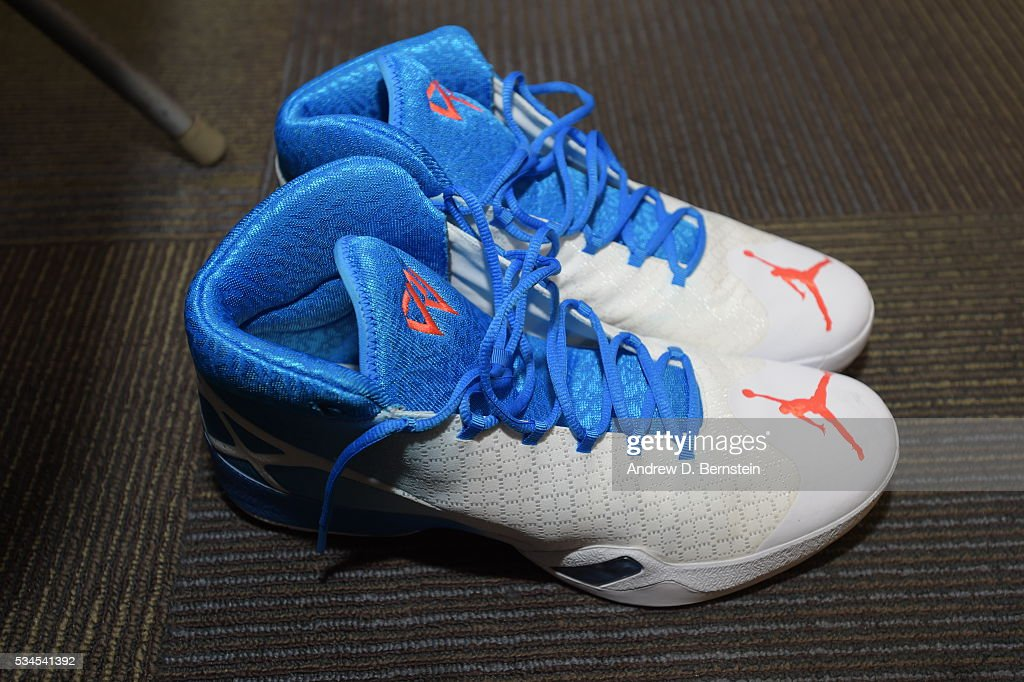 The sneakers of <a gi-track='captionPersonalityLinkClicked' href=/galleries/search?phrase=Russell+Westbrook&family=editorial&specificpeople=4044231 ng-click='$event.stopPropagation()'>Russell Westbrook</a> #0 of the Oklahoma City Thunder before Game Five of the Western Conference Finals against the Golden State Warriors during the 2016 NBA Playoffs on May 26, 2016 at ORACLE Arena in Oakland, California.