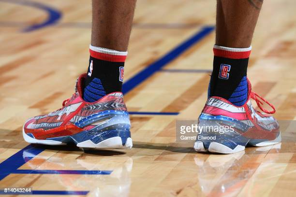 The sneakers of Sindarius Thornwell of the LA Clippers are seen during the game against the Miami Heat on July 13 2017 at the Thomas Mack Center in...