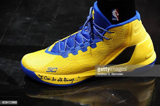 The sneakers of Stephen Curry of the Golden State Warriors are seen before the game against the LA Clippers on December 7 2016 at STAPLES Center in...