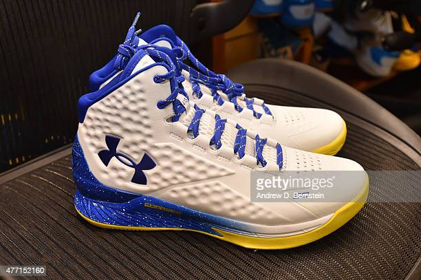 The sneakers of Stephen Curry of the Golden State Warriors before Game Five of the 2015 NBA Finals at Oracle Arena on June 14 2015 in Oakland...