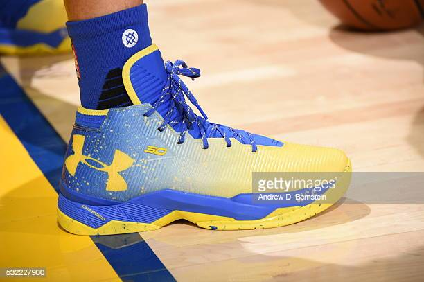 The sneakers of Stephen Curry of the Golden State Warriors before the game against the Oklahoma City Thunder in Game Two of the Western Conference...