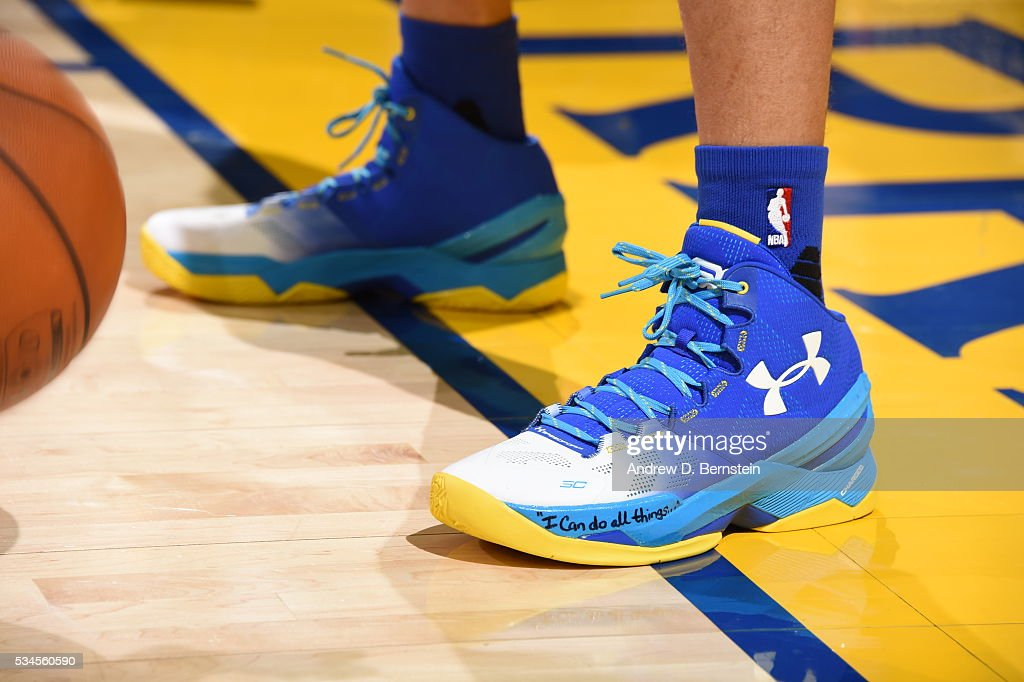 The sneakers of <a gi-track='captionPersonalityLinkClicked' href=/galleries/search?phrase=Stephen+Curry+-+Basket&family=editorial&specificpeople=5040623 ng-click='$event.stopPropagation()'>Stephen Curry</a> #30 of the Golden State Warriors before the game against the Oklahoma City Thunder in Game Five of the Western Conference Finals during the 2016 NBA Playoffs on May 26, 2016 at ORACLE Arena in Oakland, California.