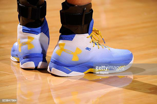 The sneakers of Stephen Curry of the Golden State Warriors during the game against the Houston Rockets in Game Four of the Western Conference...