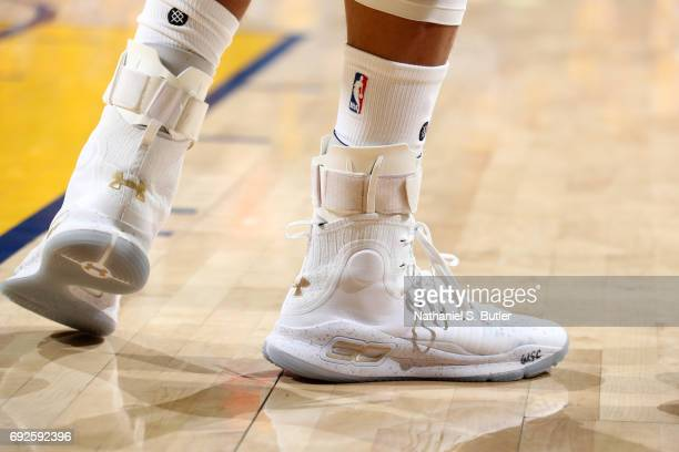 The sneakers of Stephen Curry of the Golden State Warriors during the game against the Cleveland Cavaliers in Game Two of the 2017 NBA Finals on June...