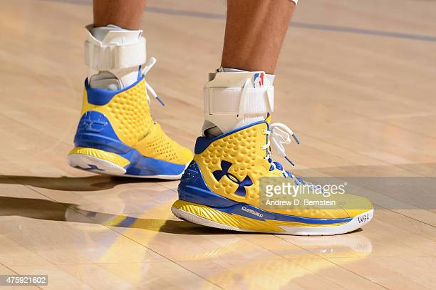 The sneakers of Stephen Curry of the Golden State Warriors Game One of the 2015 NBA Finals on June 4 2015 at Oracle Arena in Oakland California NOTE...