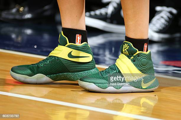 The sneakers of Sue Bird of the Seattle Storm during the game against the Washington Mystics on September 9 2016 at Verizon Center in Washington DC...