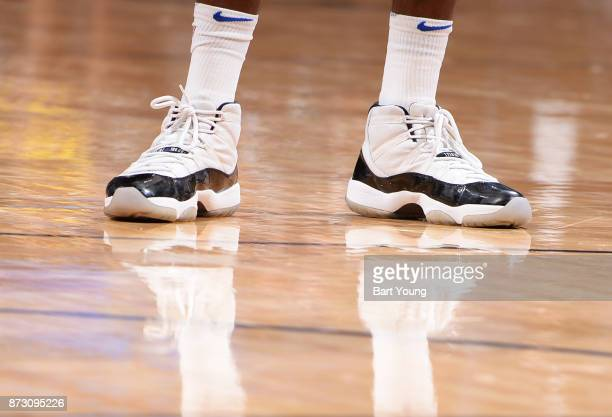 The sneakers of Terrence Ross of the Orlando Magic are seen during the game against the Denver Nuggets on November 11 2017 at the Pepsi Center in...
