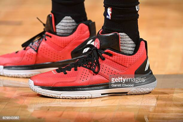 The sneakers of Terrence Ross of the Toronto Raptors are seen during a game against the Denver Nuggets on November 18 2016 at the Pepsi Center in...