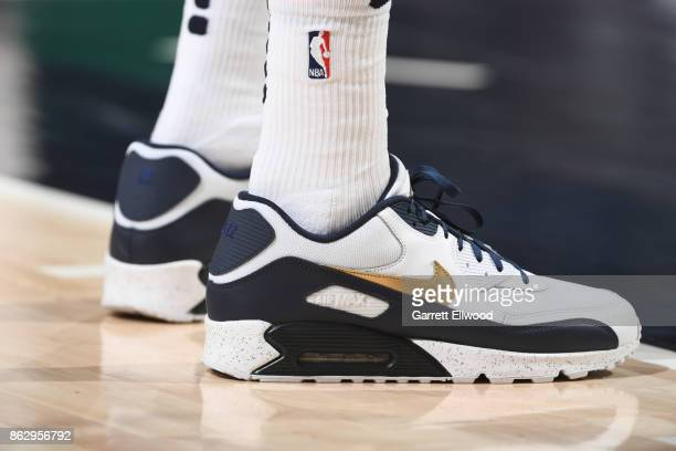 The sneakers of Thabo Sefolosha of the Utah Jazz are seen during the game against the Denver Nuggets on October 18 2017 at vivintSmartHome Arena in...