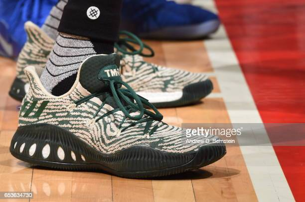 The sneakers of Thon Maker of the Milwaukee Bucks are seen during the game against the LA Clippers on March 15 2017 at STAPLES Center in Los Angeles...