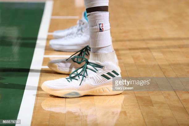The sneakers of Thon Maker of the Milwaukee Bucks are seen during the game against the Milwaukee Bucks on October 23 2017 at the BMO Harris Bradley...