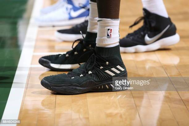 The sneakers of Thon Maker of the Milwaukee Bucks are seen during the game against the Sacramento Kings on December 2 2017 at the BMO Harris Bradley...