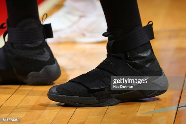 The sneakers of Tianna Hawkins of the Washington Mystics during the game against the Dallas Wings during Round One of the 2017 WNBA Playoffs on...