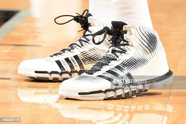 The sneakers of Tim Duncan of the San Antonio Spurs during Game Two of the 2014 NBA Finals between the Miami Heat and San Antonio Spurs at ATT Center...