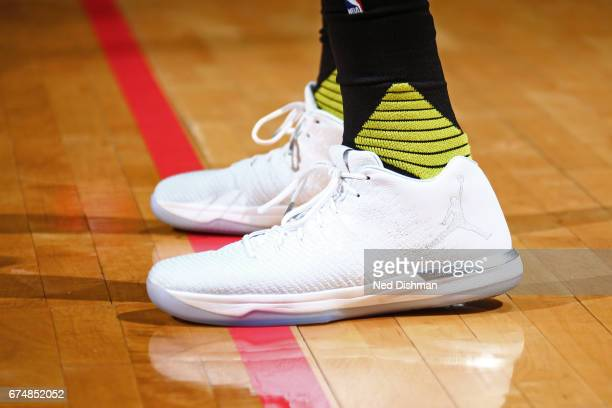 The sneakers of Tim Hardaway Jr #10 of the Atlanta Hawks during the game against the Washington Wizards in Game Five of the Eastern Conference...