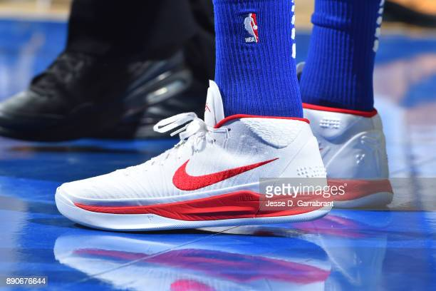 The sneakers of Timothe LuwawuCabarrot of the Philadelphia 76ers are seen during the game against the Indiana Pacers on November 3 2017 at Wells...