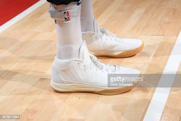 The sneakers of Tobias Harris of the Detroit Pistons are seen before the game against the Atlanta Hawks on November 10 2017 at Little Caesars Arena...