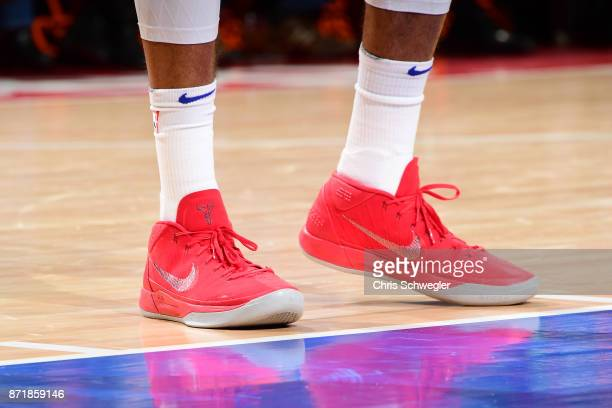 The sneakers of Tobias Harris of the Detroit Pistons are seen during the game against the Indiana Pacers on November 8 2017 at Little Caesars Arena...