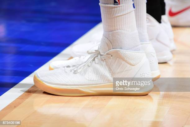 The sneakers of Tobias Harris of the Detroit Pistons are seen during the game against the Miami Heat on November 12 2017 at Little Caesars Arena in...