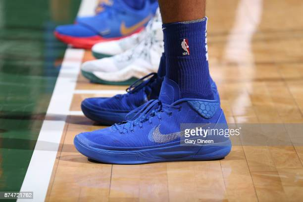 The sneakers of Tobias Harris of the Detroit Pistons are seen during the game against the Milwaukee Bucks on November 15 2017 at the BMO Harris...