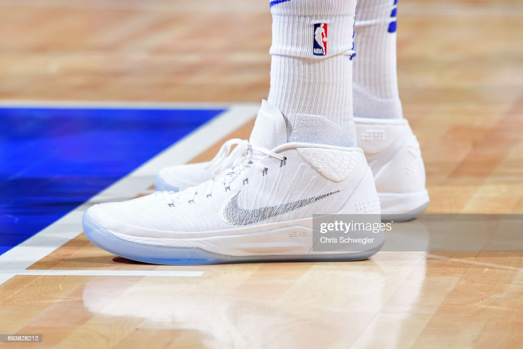 The sneakers of Tobias Harris #34 of the Detroit Pistons during the game against the Golden State Warriors on December 8, 2017 at Little Caesars Arena in Detroit, Michigan.