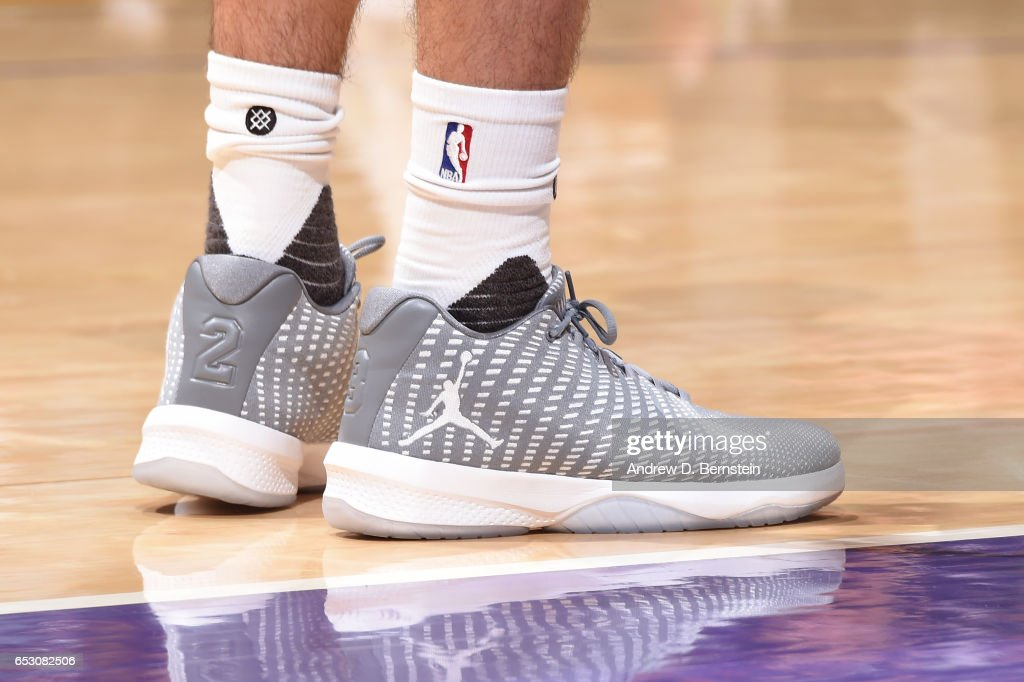 The sneakers of Tyler Ennis #11 of the Los Angeles Lakers are seen during the game against the Boston Celtics on March 3, 2017 at STAPLES Center in Los Angeles, California.