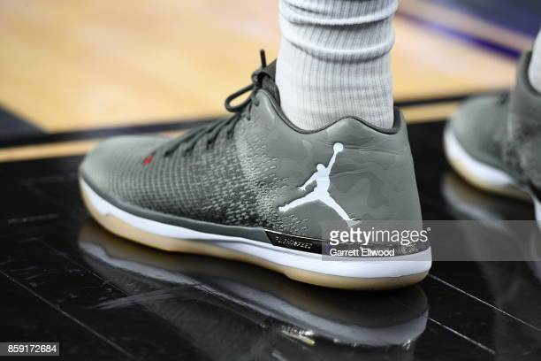 The sneakers of Tyler Ennis of the Los Angeles Lakers are seen during a preseason game against the Sacramento Kings on October 8 2017 at TMobile...