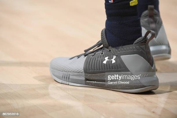The sneakers of Will Barton of the Denver Nuggets are seen during the game against the Utah Jazz on October 18 2017 at vivintSmartHome Arena in Salt...