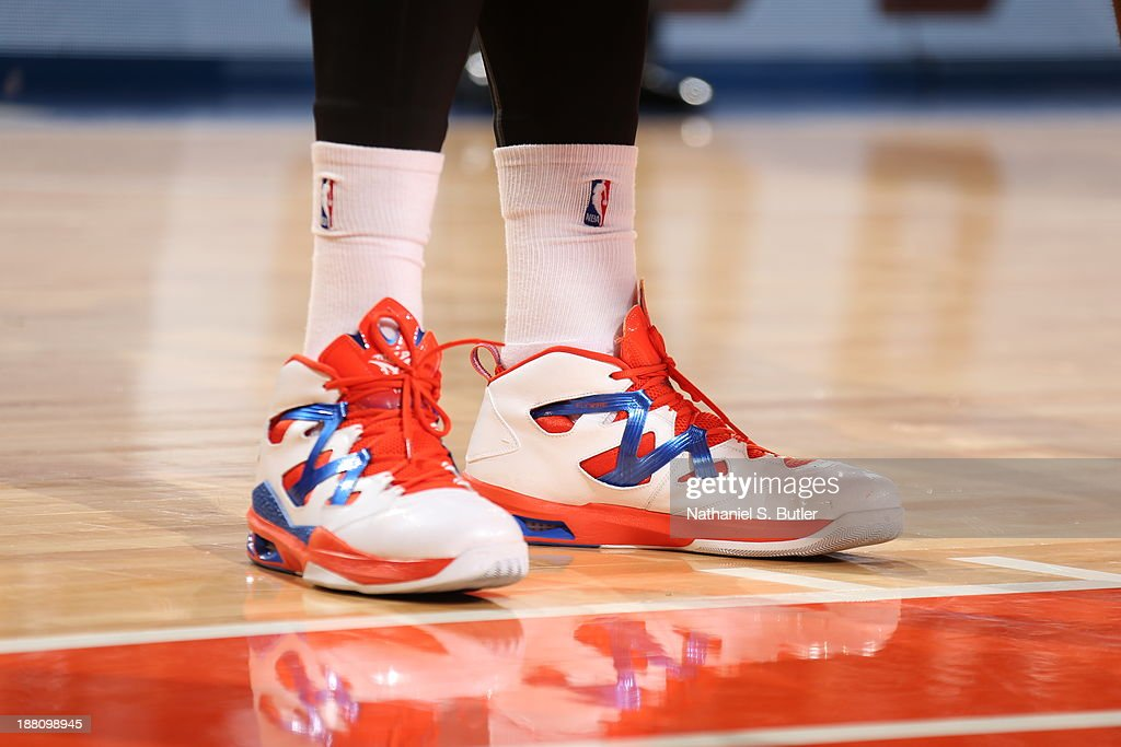 The sneakers worn by <a gi-track='captionPersonalityLinkClicked' href=/galleries/search?phrase=Carmelo+Anthony&family=editorial&specificpeople=201494 ng-click='$event.stopPropagation()'>Carmelo Anthony</a> #7 of the New York Knicks during a game against the Houston Rockets at Madison Square Garden in New York City on November 14, 2013.
