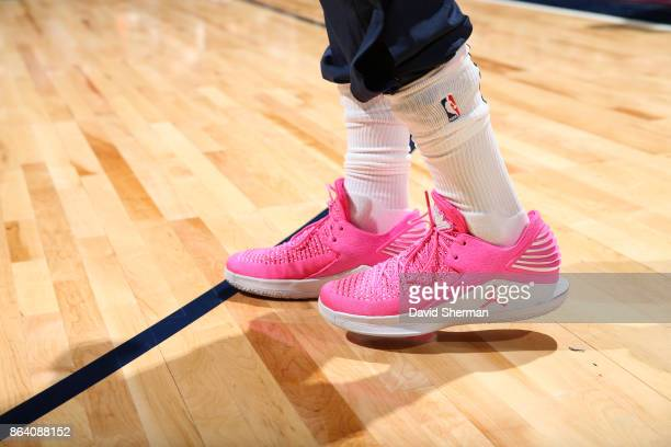 the sneakers worn by Jimmy Butler of the Minnesota Timberwolves are seen prior to the game against the Utah Jazz on October 20 2017 at Target Center...