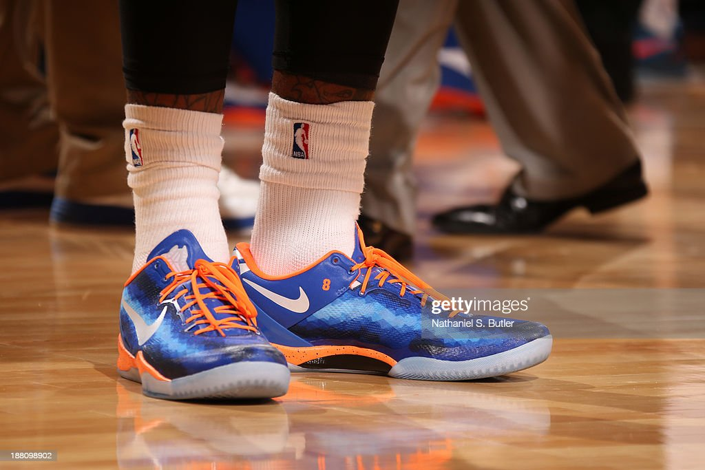 The sneakers worn by J.R. Smith #8 of the New York Knicks during a game against the Houston Rockets at Madison Square Garden in New York City on November 14, 2013.