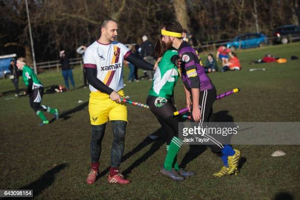 The snitch runner attempts to take a player's broom as the Keele Squirrels play the London Unspeakables during the Crumpet Cup quidditch tournament...