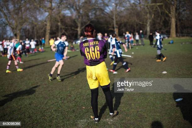The snitch runner looks on during the Crumpet Cup quidditch tournament on Clapham Common on February 18 2017 in London England Quidditch is the...